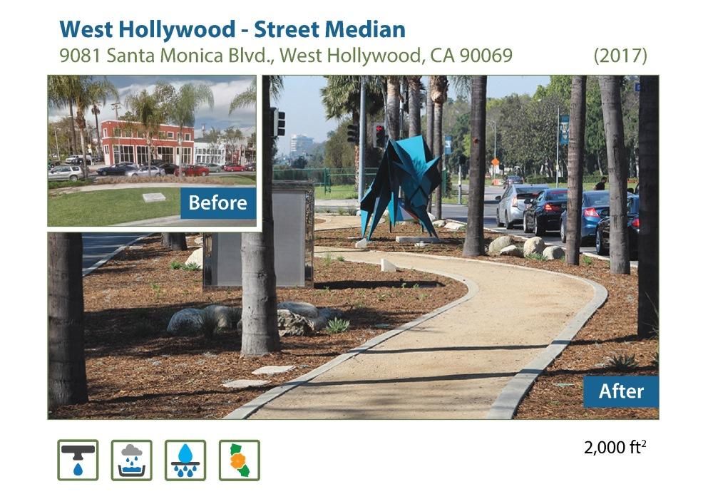 West hollywood street median