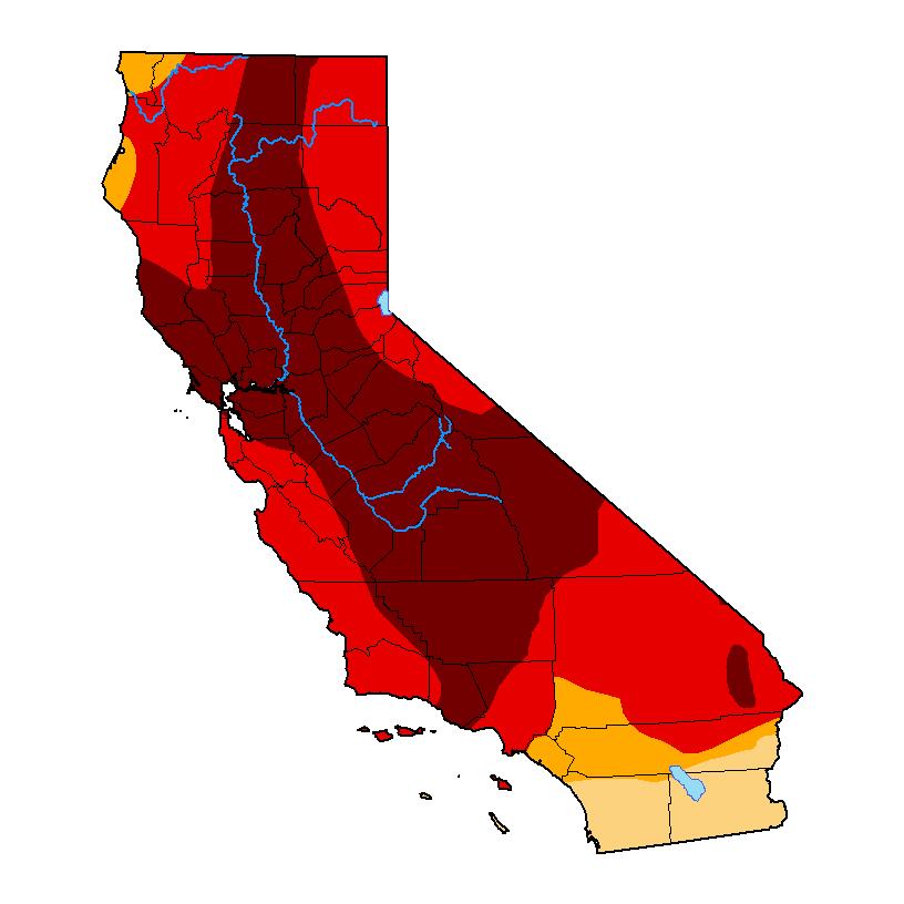Drought Monitor CA Map 2021